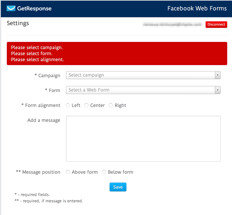 Facebook Web Forms Settings Alert