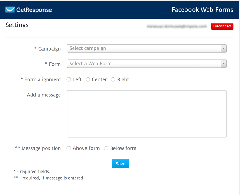 Facebook Web Forms Settings