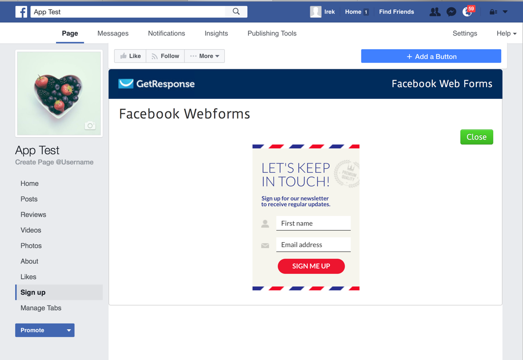 Facebook Email Signup Form created with GetResponse WebForms app