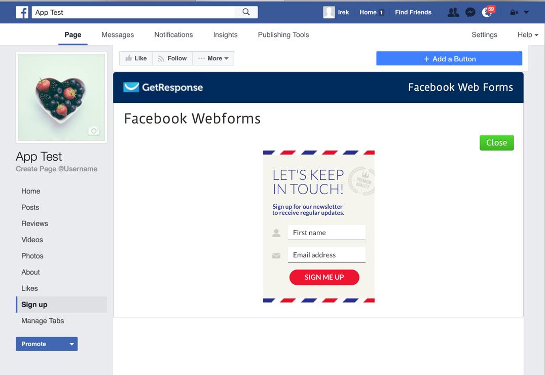 An example Facebook Web Form