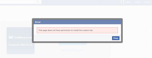 Facebook custom tab no permission