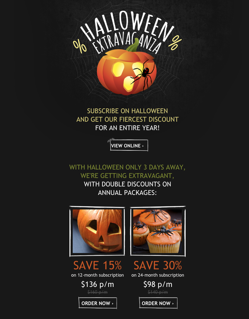 Halloween newsletter sales promotion template featuring pumpkins and spiders