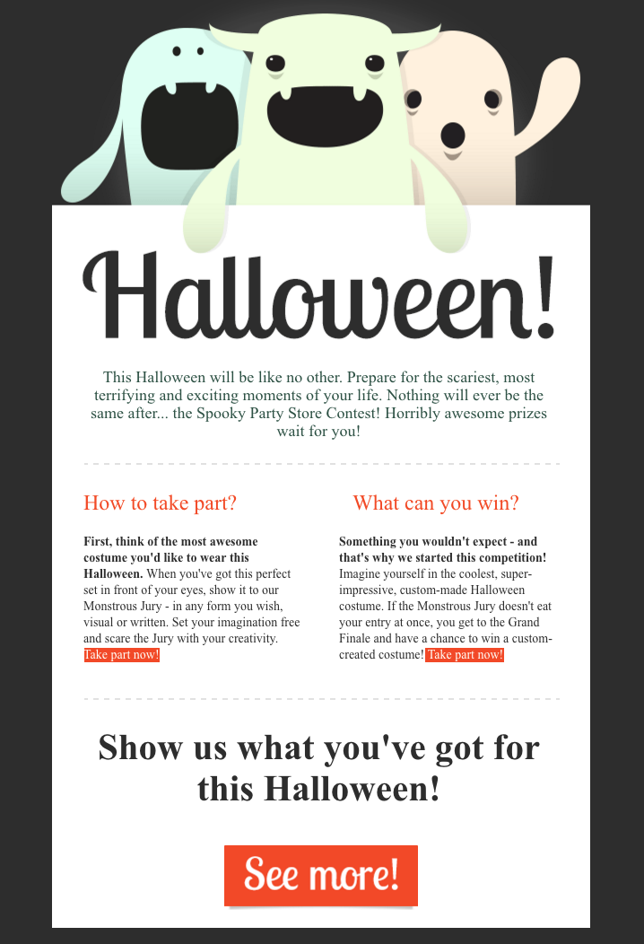 Halloween themed newsletter template with ghosts and monsters