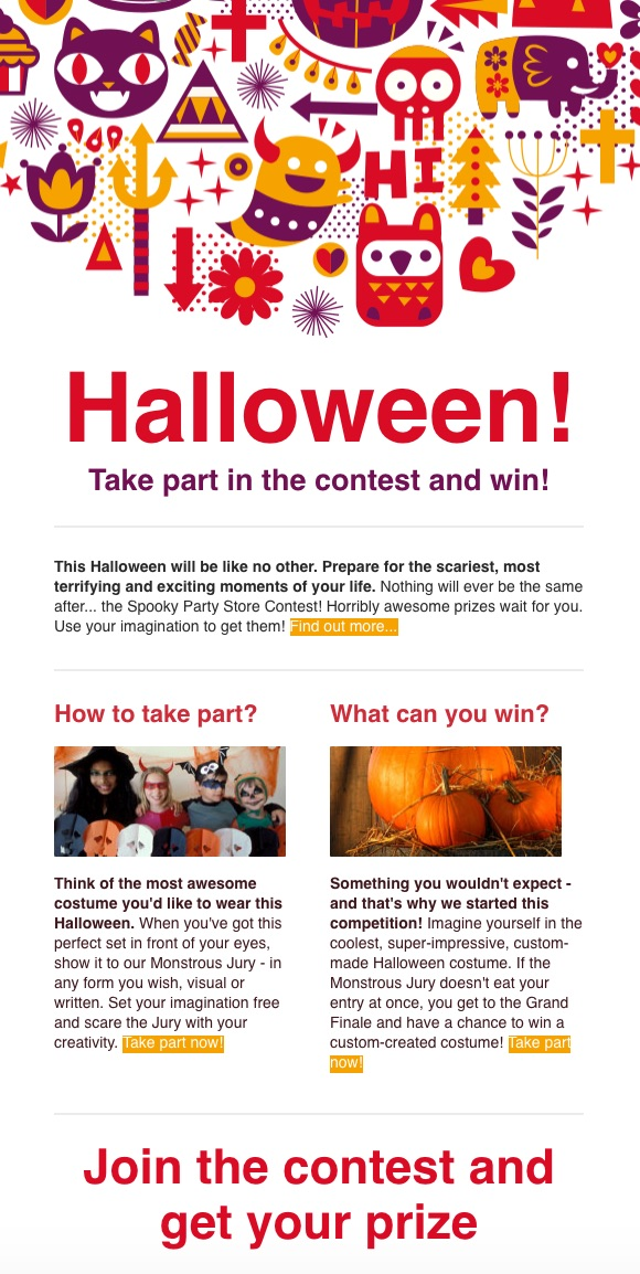 Halloween Contest Email Newsletter Template
