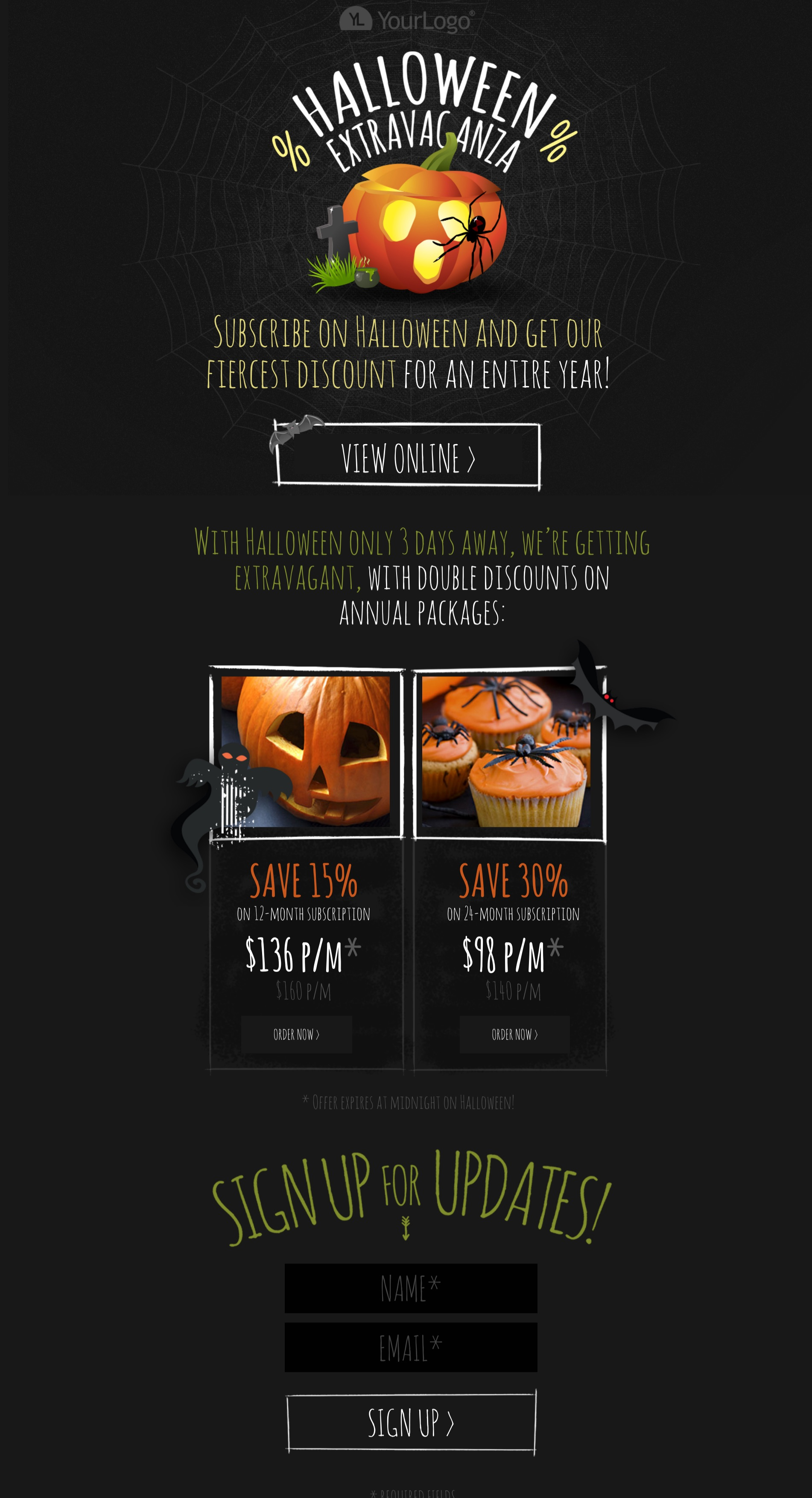 Dark Themed Halloween Extravaganza Landing Page with pumpkins, spiders, bats