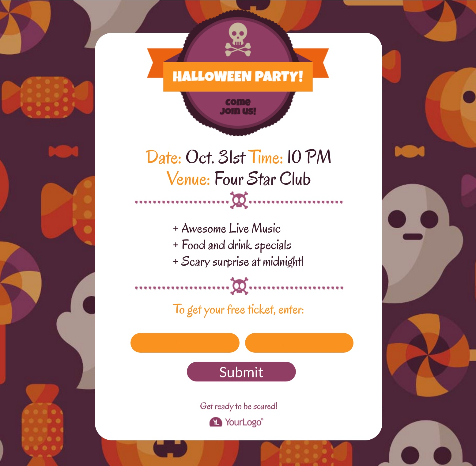 Halloween Party Landing Page Template