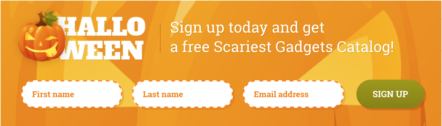Horizontal Halloween Web Form Template with Pumpkins