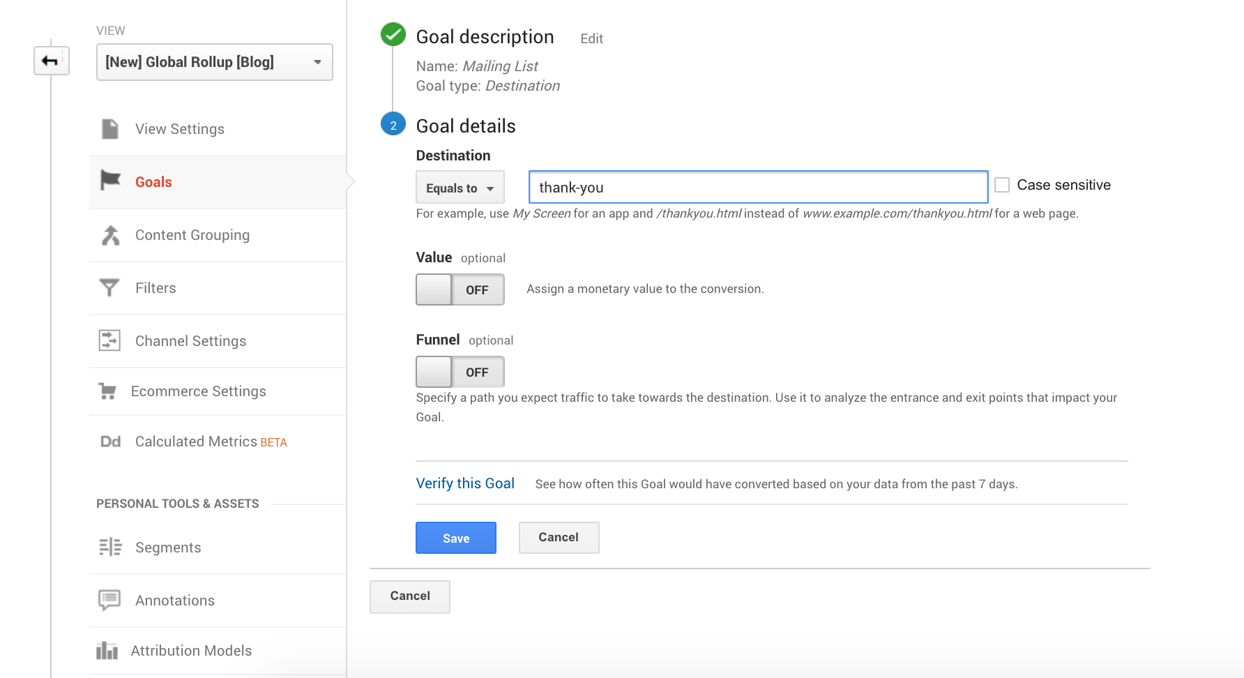 Selecting the thank you page in Google Analytics sign-ups tracking goal