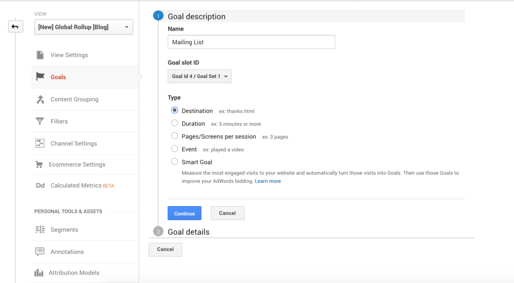 Setting up newsletter sign-ups tracking goals in Google Analytics