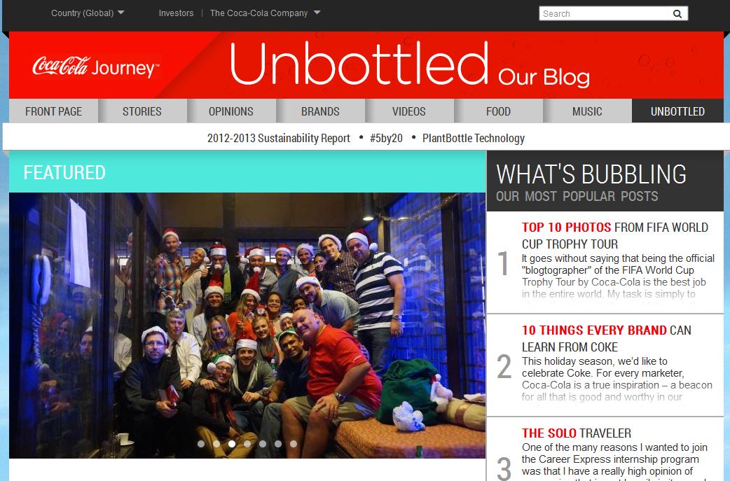 Coca Cola Unbottled blog