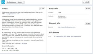 """GetResponse Facebook fanpage, """"About"""" section"""