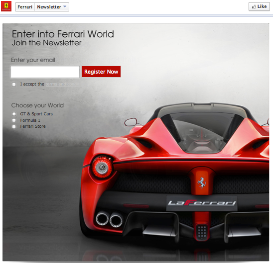 Ferrari web form on Facebook