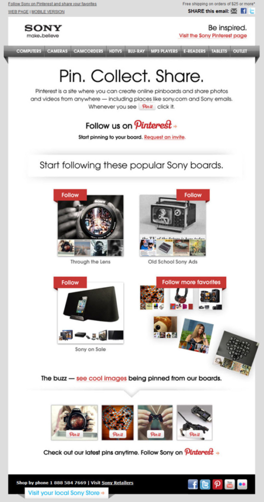 Emails and Pinterest by Sony