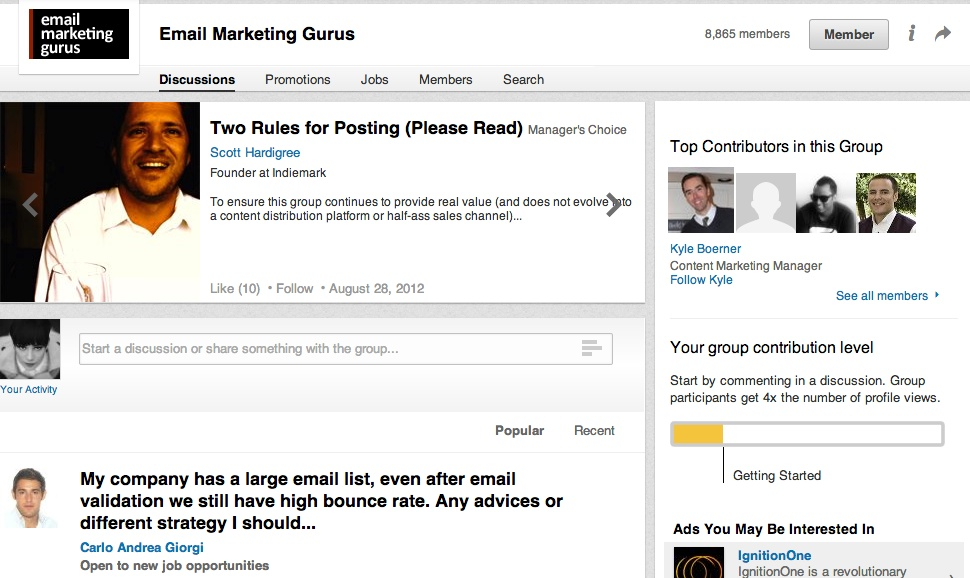 Image 3 –  LinkedIn groups as a great source of information about your target group.