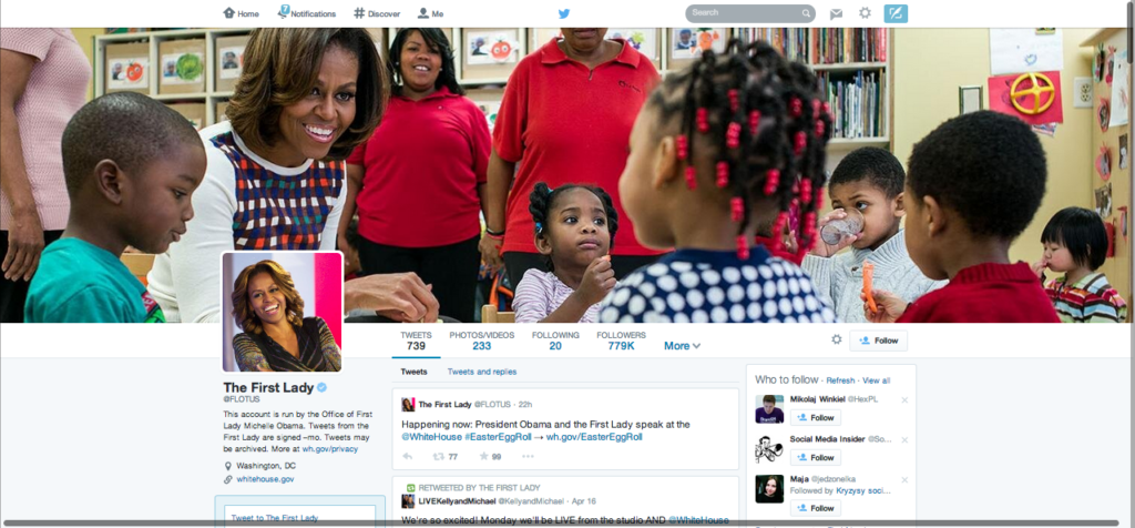 The First Lady's profile page