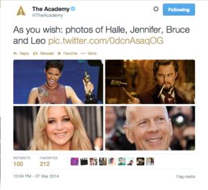Oscar winners in @theacademy tweet