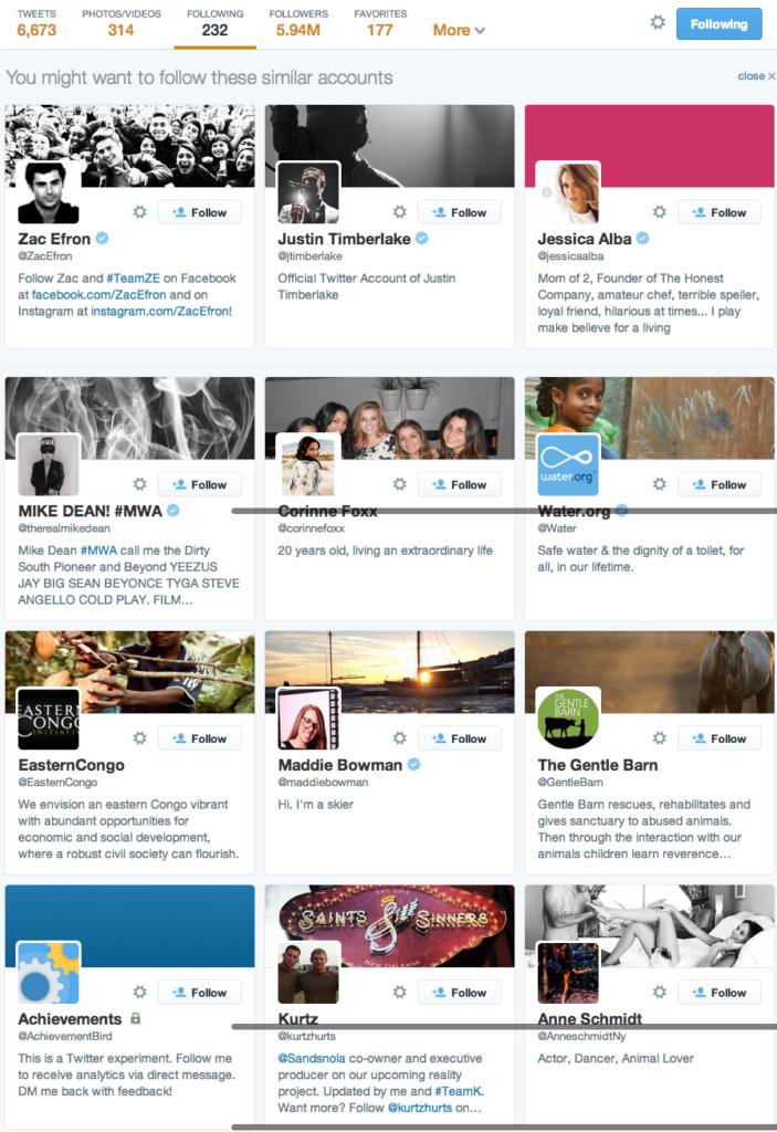 Channing Tatum's following list