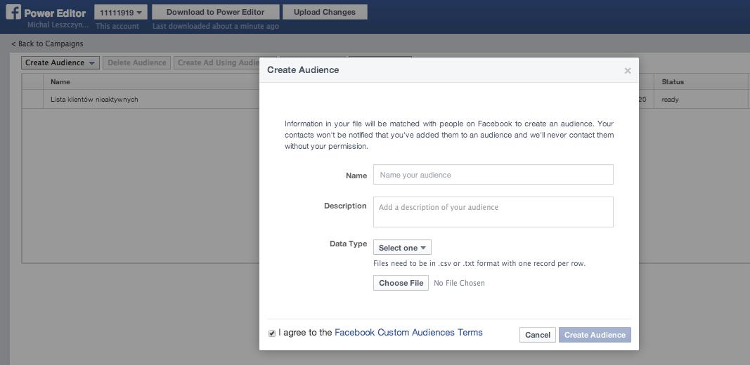 Creating Facebook Custom Audience