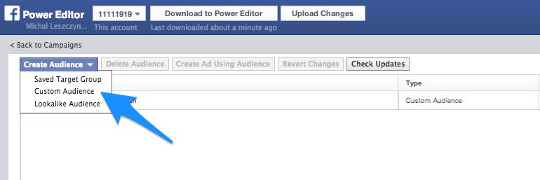 Facebook Power Editor - Audience settings
