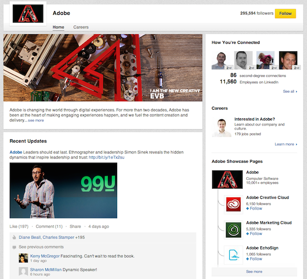 Adobe's main page, with a list of Showcase Pages on the right.