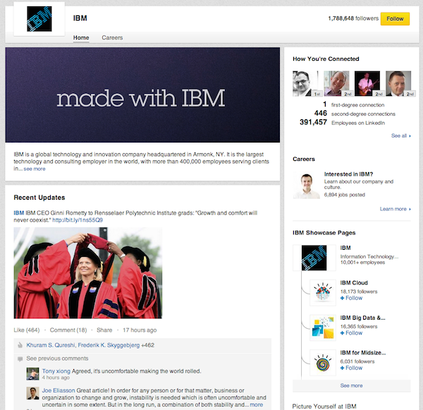 IBM's profile page.