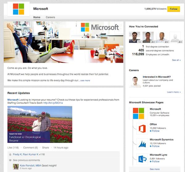 Microsoft's profile page.