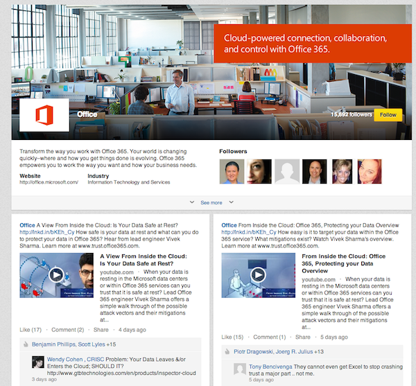 A Microsoft Office page, which has more fans than Microsofts' main page.