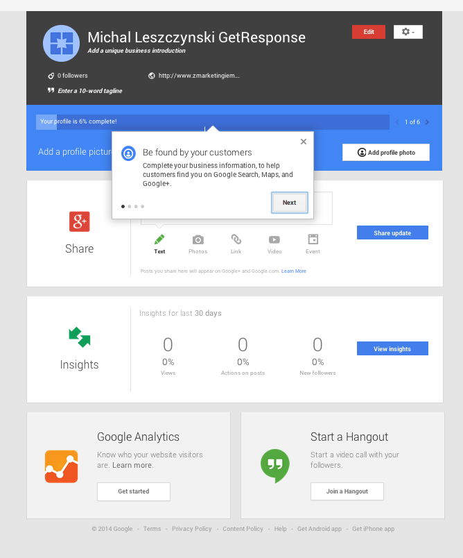 Status Bar Google My Business