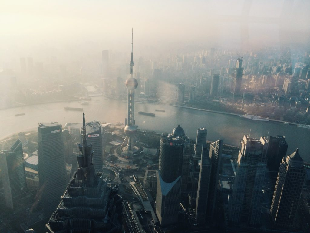 фотография индустриального города с высоты птичьего полета