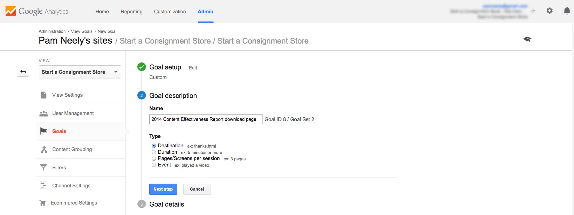 Google Analytics goal description setup