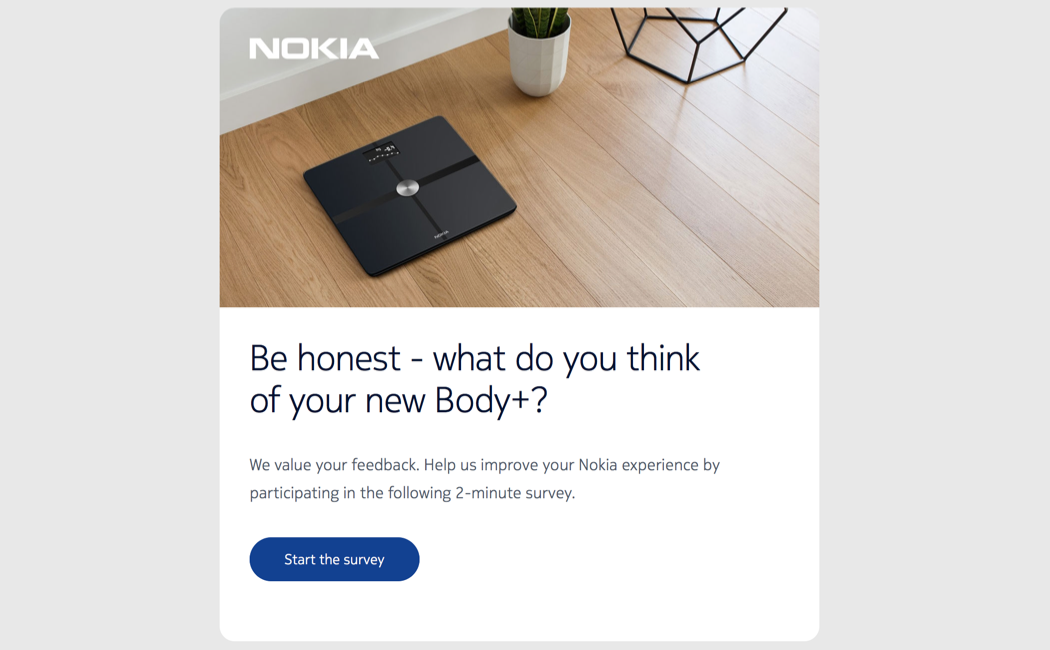 Customer survey in a newsletter from Nokia