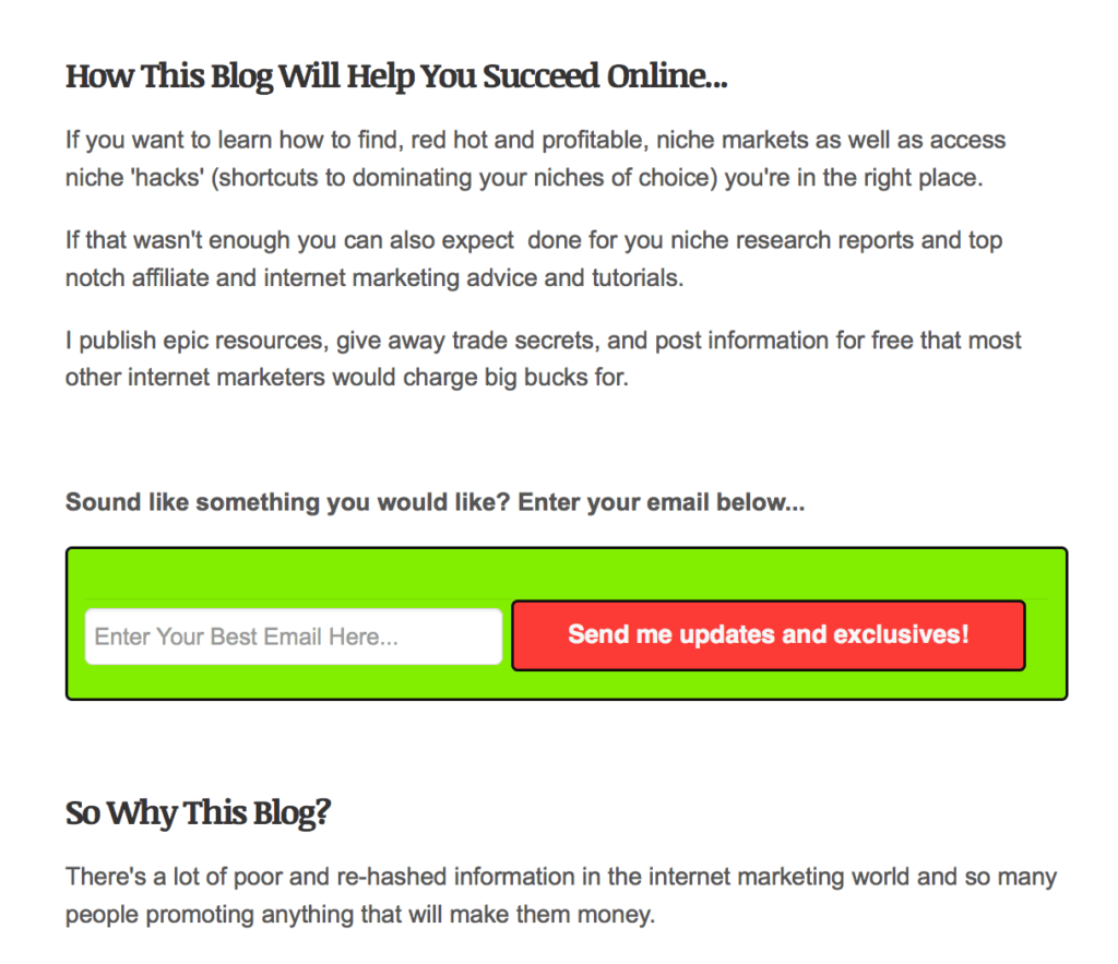This email opt-in form appears on the About Us page of an affiliate site called NicheHacks. The opt-in form is placed between the second and third sections of the About Us page.