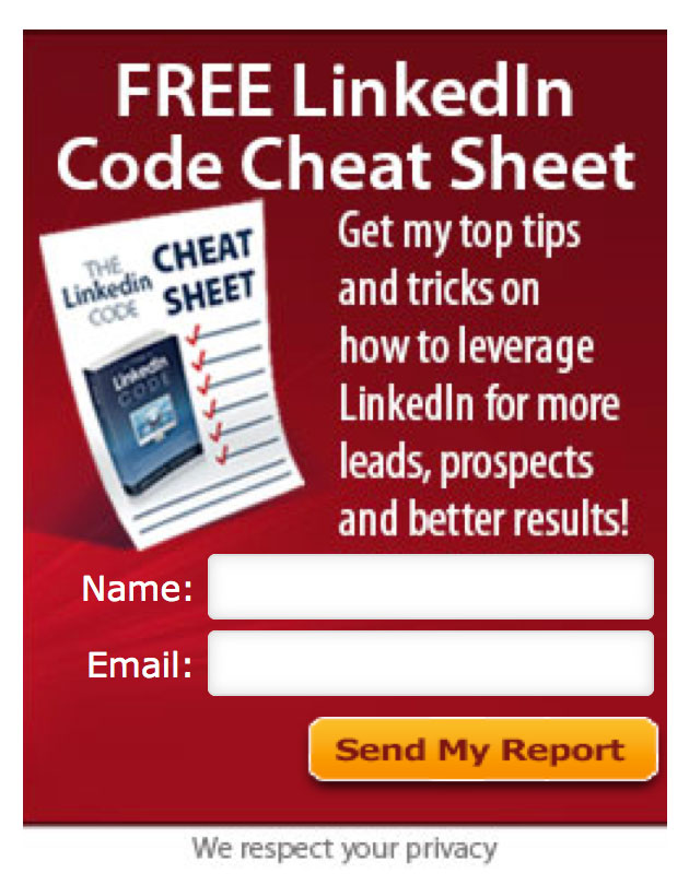 A nice example of a lead magnet from LinkedIn expert Melonie Dodaro's site.