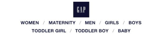 Example of two-tiered navigation bar in email from Gap