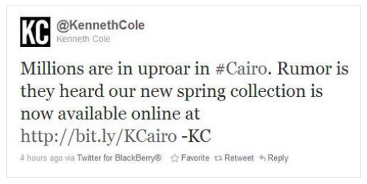 Example of social media mistake of poking fun at demonstrations in Cairo