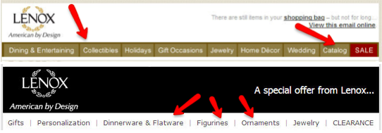 Example of changing navigation bar in email from Lenox