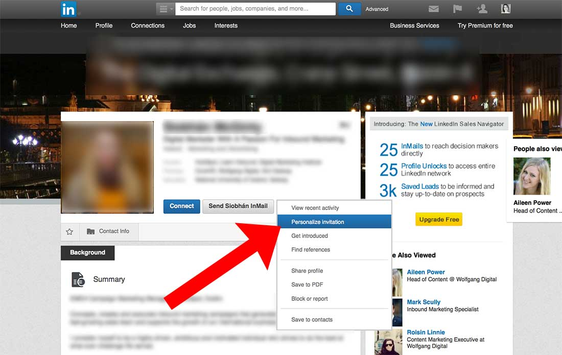 Example of use personalize invite in LinkedIn to promote content