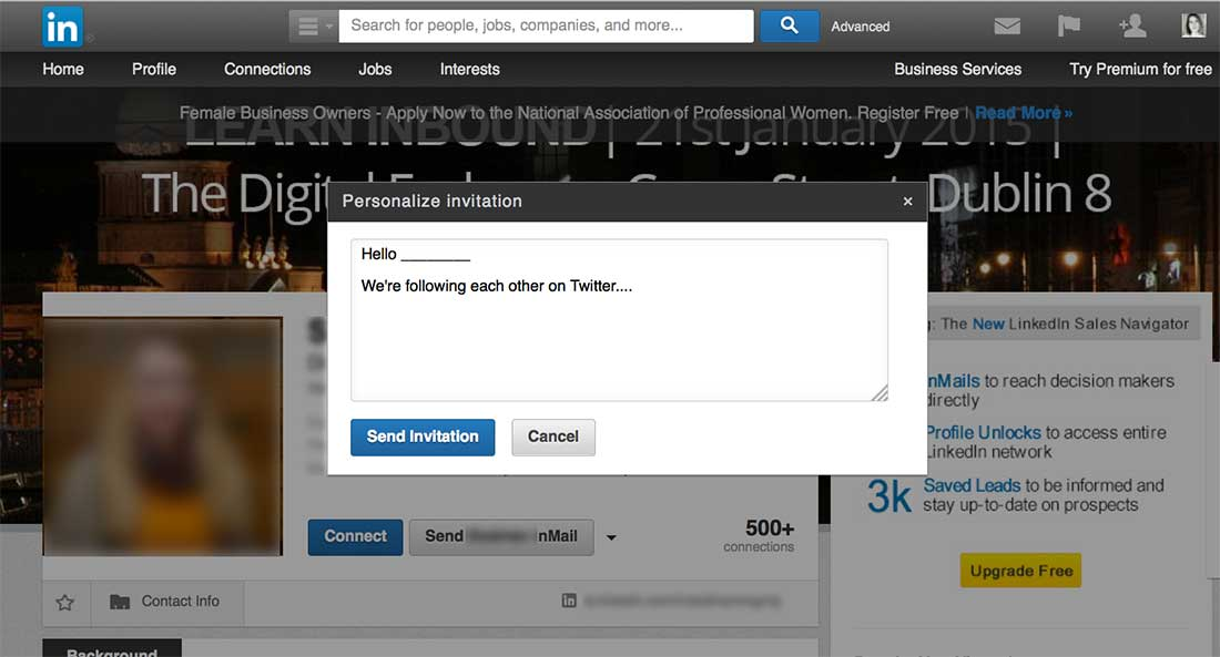 Example of send a personalize invite in LinkedIn to promote content