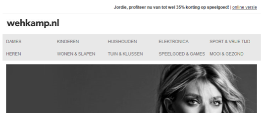 Example of two-tiered navigation bar in email from Wehkamp