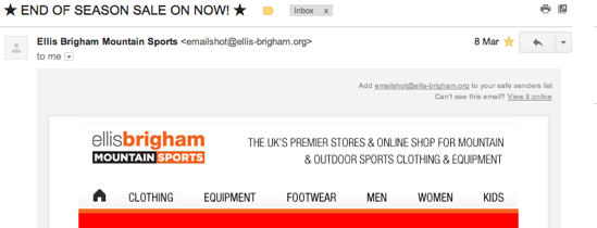 Example of right-aligned email preheader text looks good as well