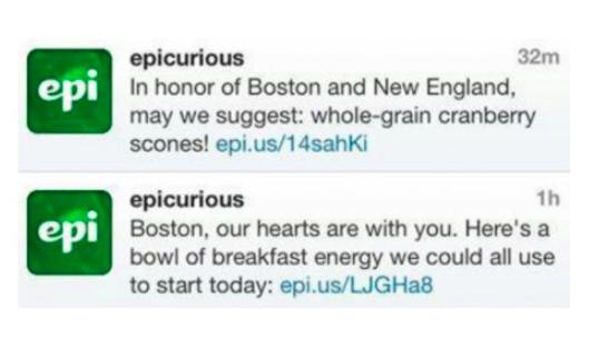 Example of social media mistake made by Epicurious