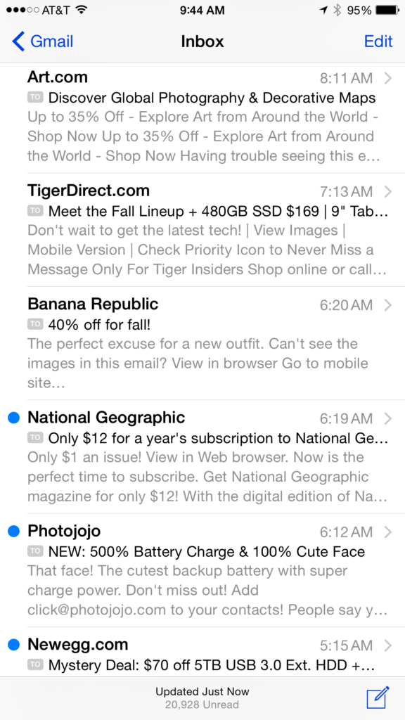Example of email preheader text in iPhone 6 Plus gmail inbox