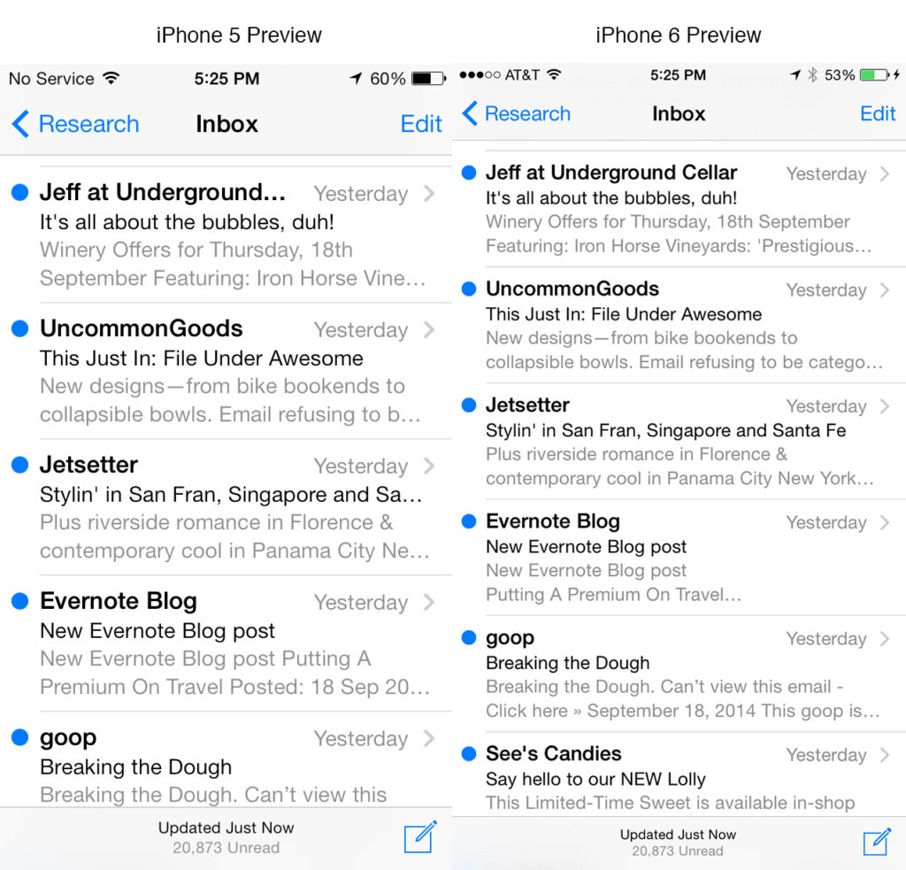 Comparison of email preheader text in iPhone 5 and iPhone 6 email inbox