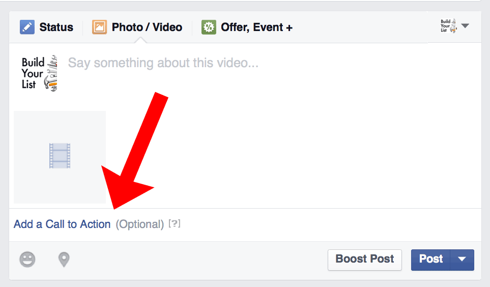 "Sample of ""Add a Call to Action"" in Facebook post"