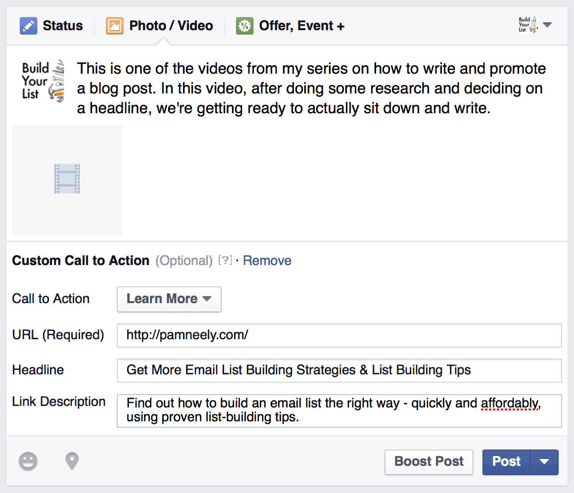 Sample of complete all blanks while upload a video in Facebook