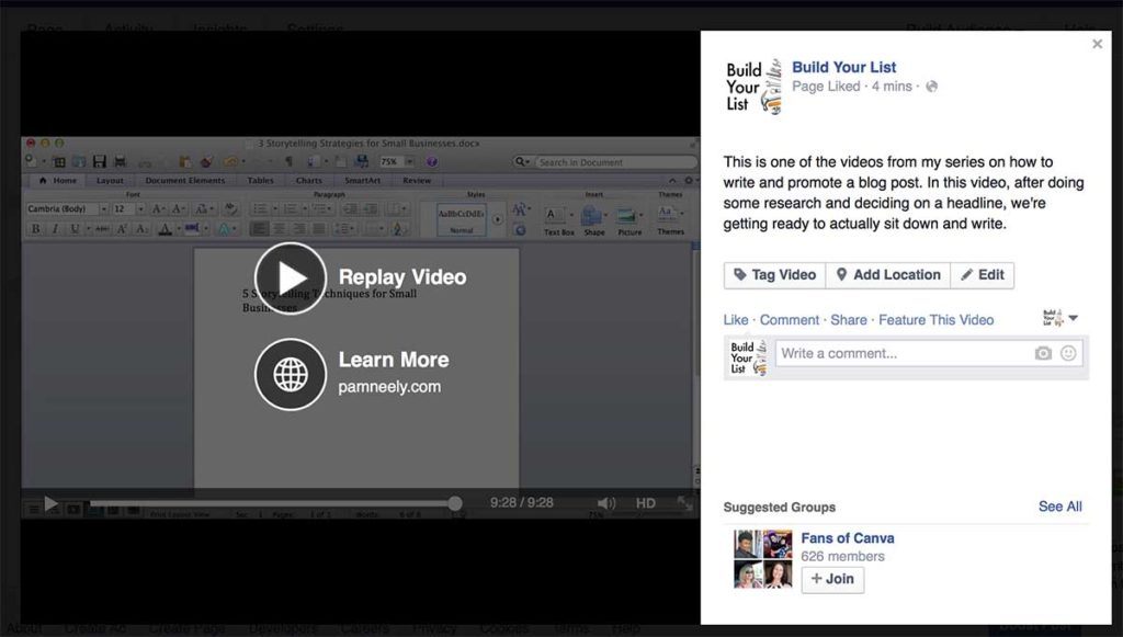 """Sample of """"URL"""" appears in the end of a Facebook video"""