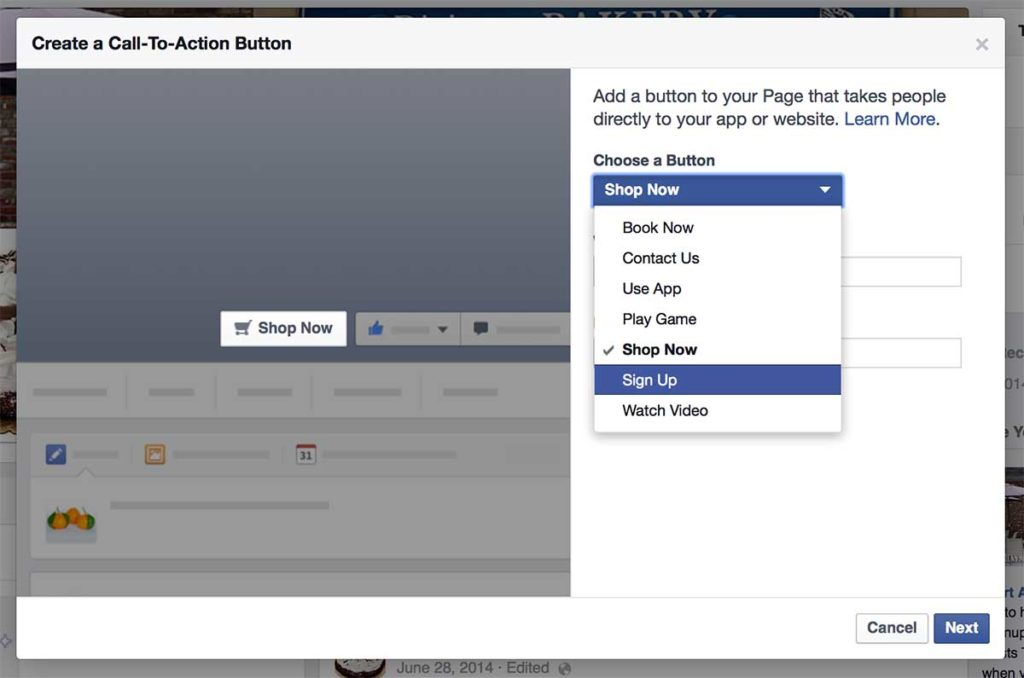 "Sample of ""Create a Call-To-Action Button"" in Facebook Pages to build email list"