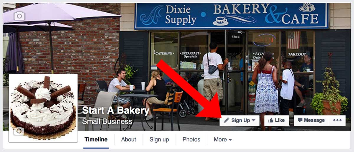 "Sample of ""Call-To-Action"" button in Facebook Pages to build email list looks like"