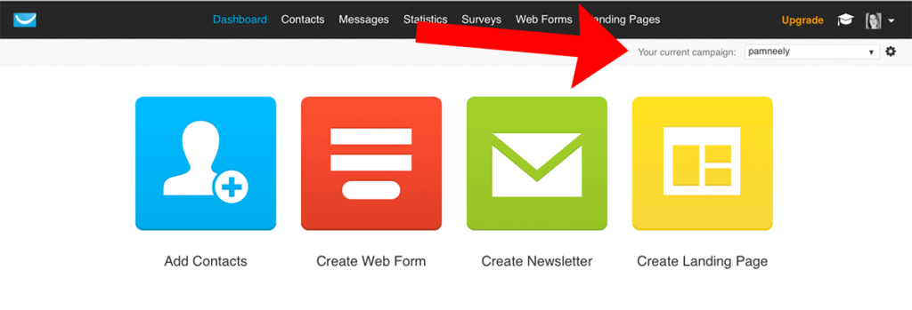 """Sample of """"Your current campaign"""" in Dashboard to customize the page after opt-in"""
