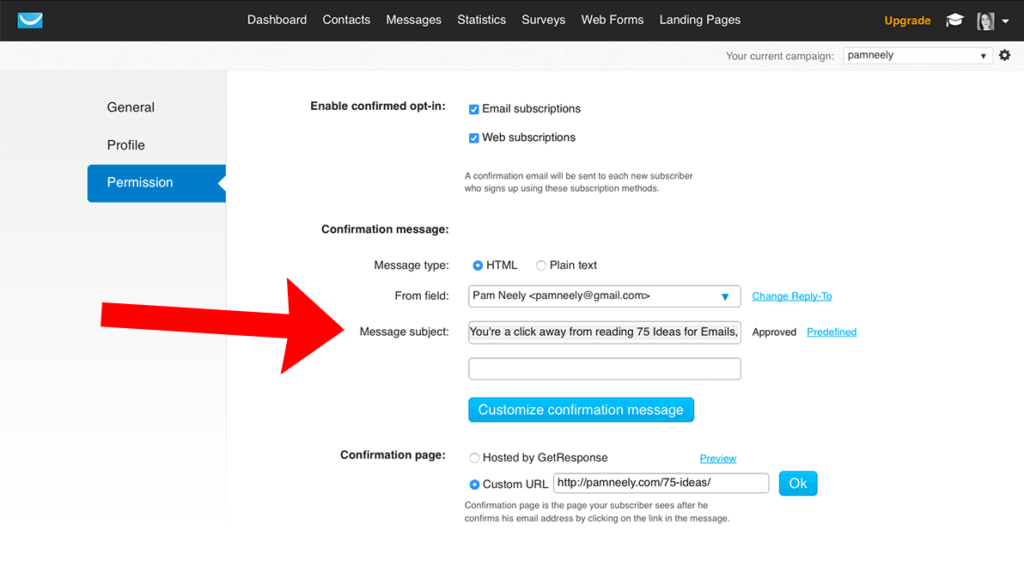 Sample of customize confirmation message after opt-in